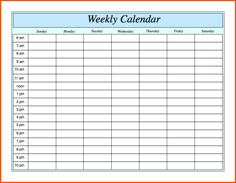 Excel Daily Planner Template Weekly Calendar Template