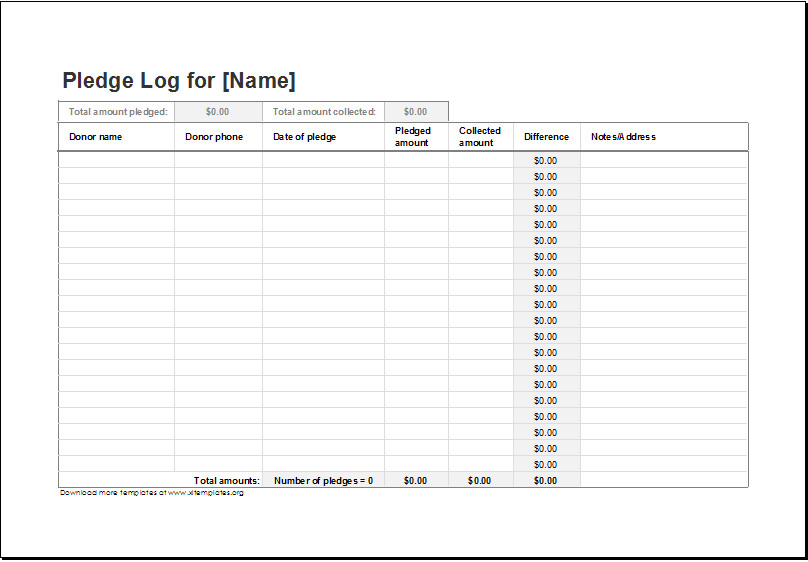 Excel Donation List Template Donation Pledge Log Template for Excel