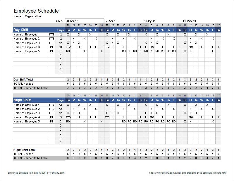 Excel Employee Schedule Template Employee Schedule Template