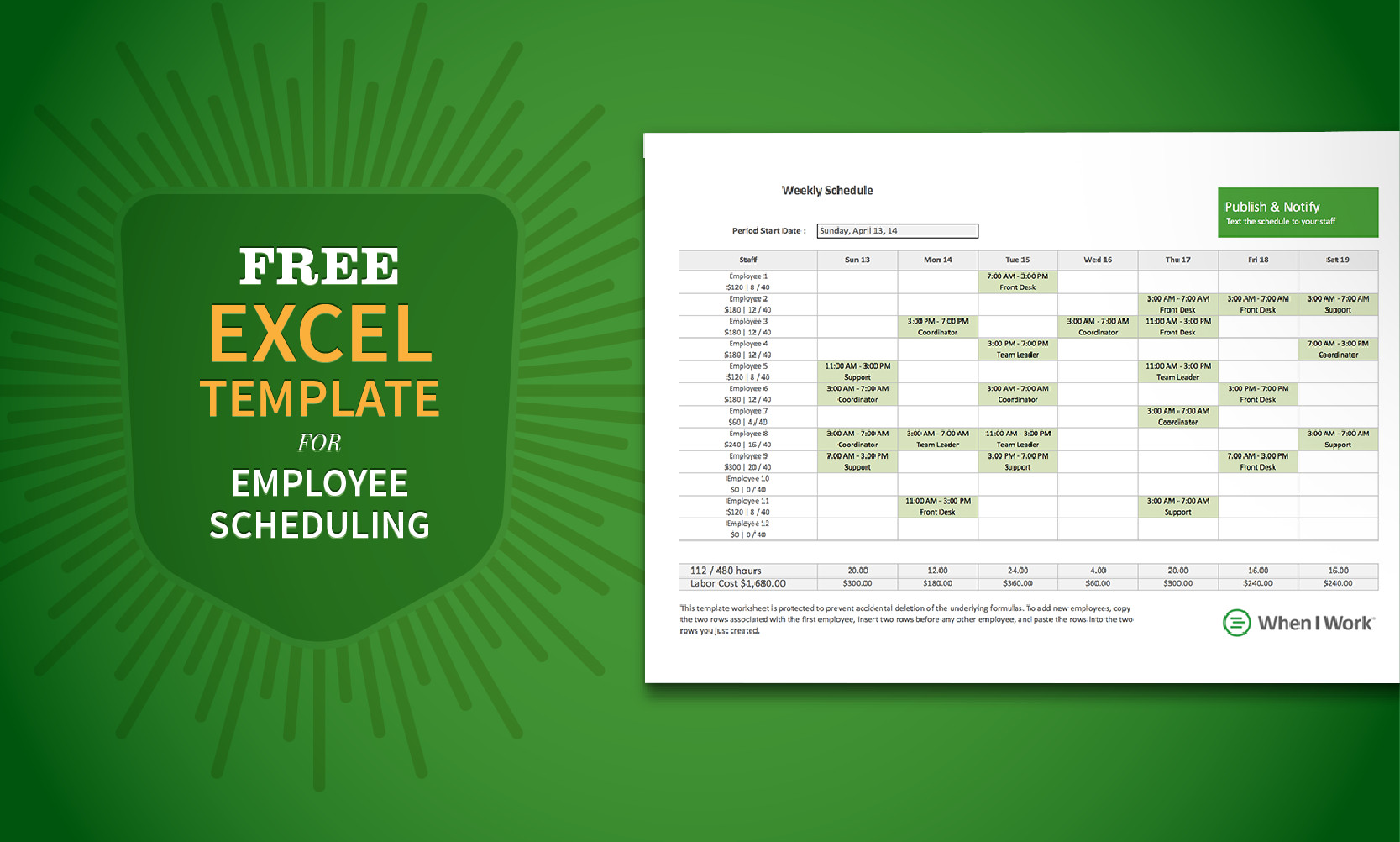 Excel Employee Schedule Template Free Excel Template for Employee Scheduling