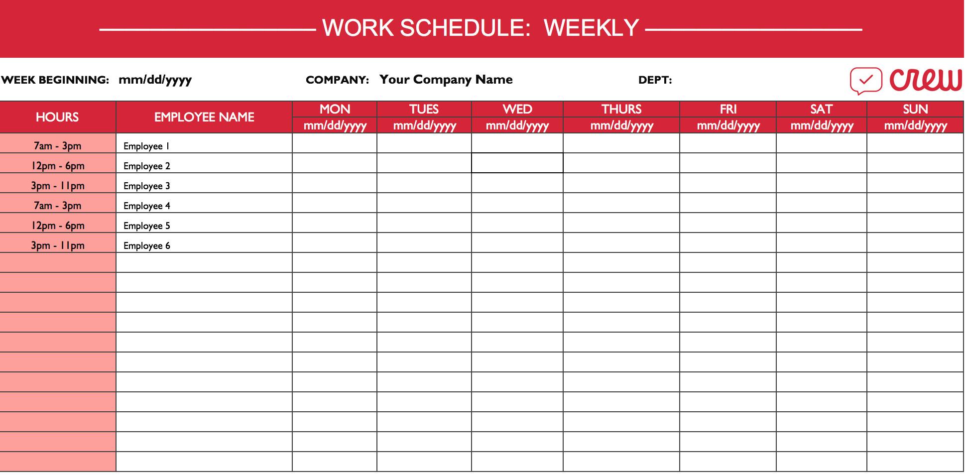 Excel Employee Schedule Template Weekly Work Schedule Template I Crew