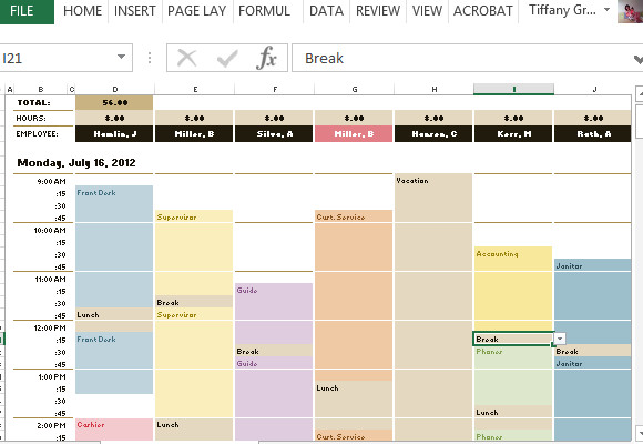 Excel Employee Schedule Templates Employee Schedule & Hourly Increment Template for Excel