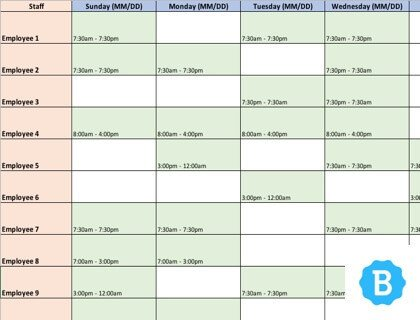 Excel Employee Schedule Templates Employee Schedule Template [free Instant Downloads]