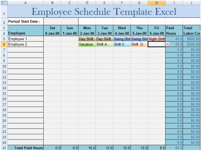 Excel Employee Schedule Templates Employee Schedule Template