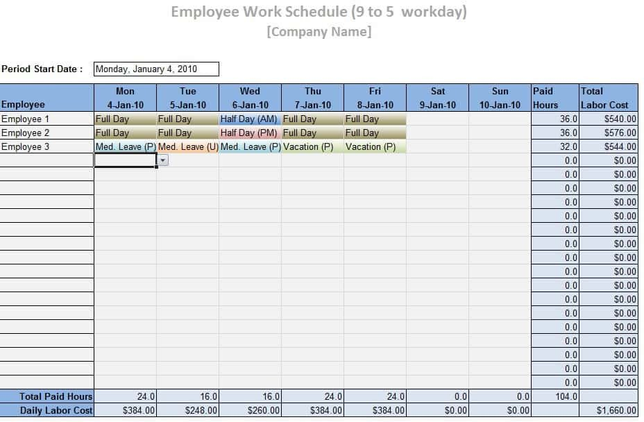 Excel Employee Schedule Templates Employee Work Schedule Template Word Excel