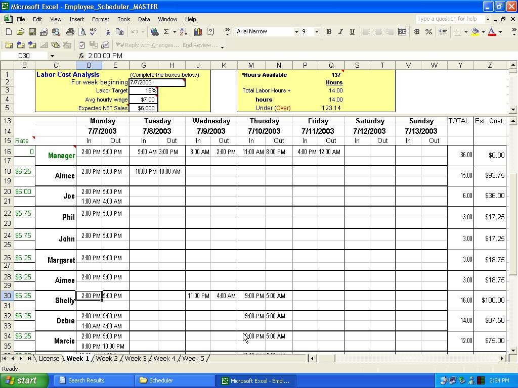 Excel Employee Schedule Templates Excel Employee Scheduler