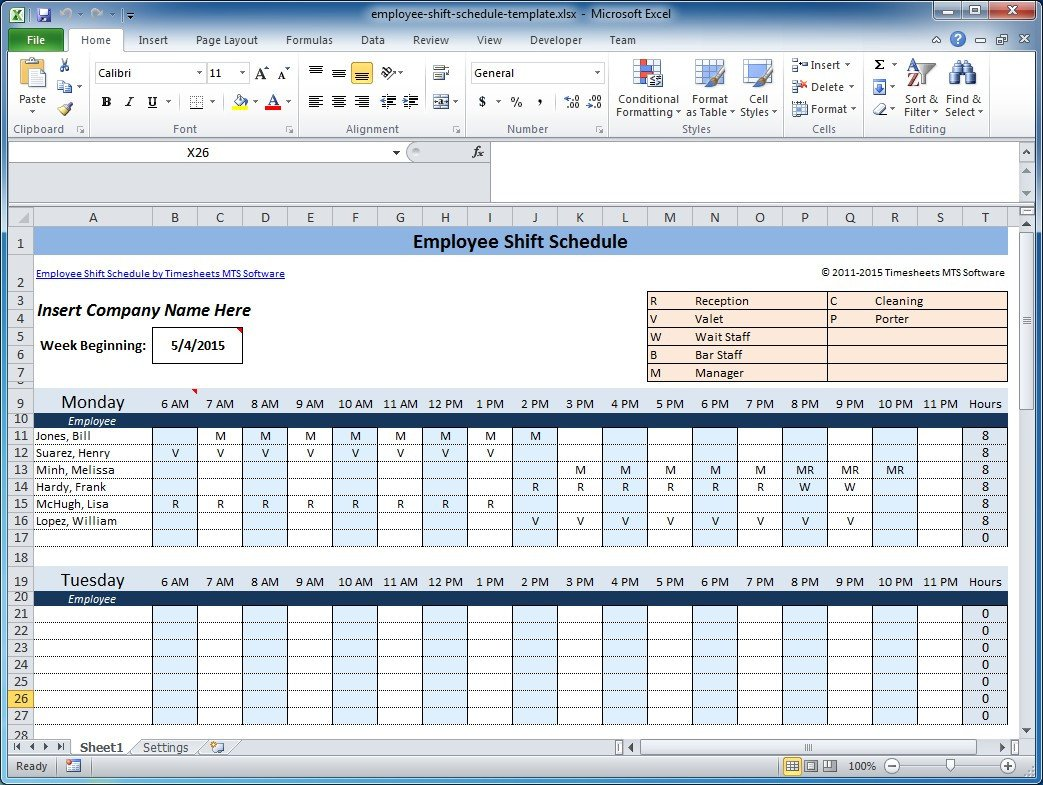 Excel Employee Schedule Templates Free Employee and Shift Schedule Templates
