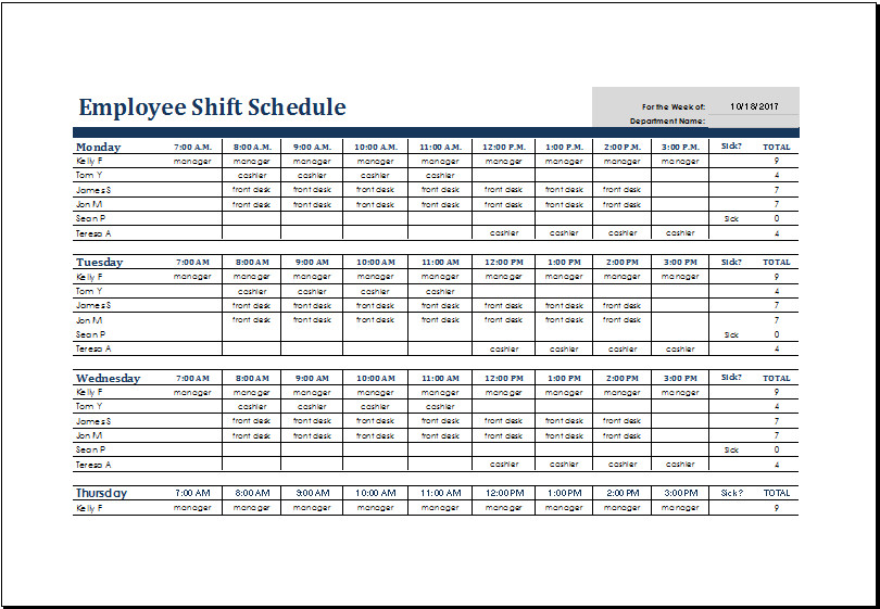 Excel Employee Schedule Templates Monthly Employee Shift Schedule Template