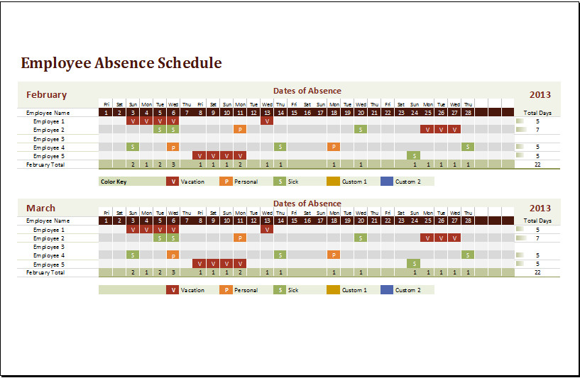 Excel Employee Schedule Templates Ms Excel Employee Absence Schedule Template