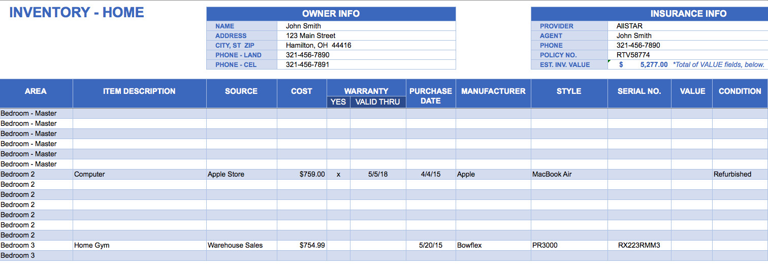 Excel Inventory Template with formulas Free Excel Inventory Templates