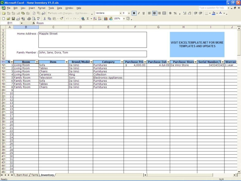 Excel Inventory Template with formulas Free Printable Spreadsheets Part 1 Worksheet Mogenk