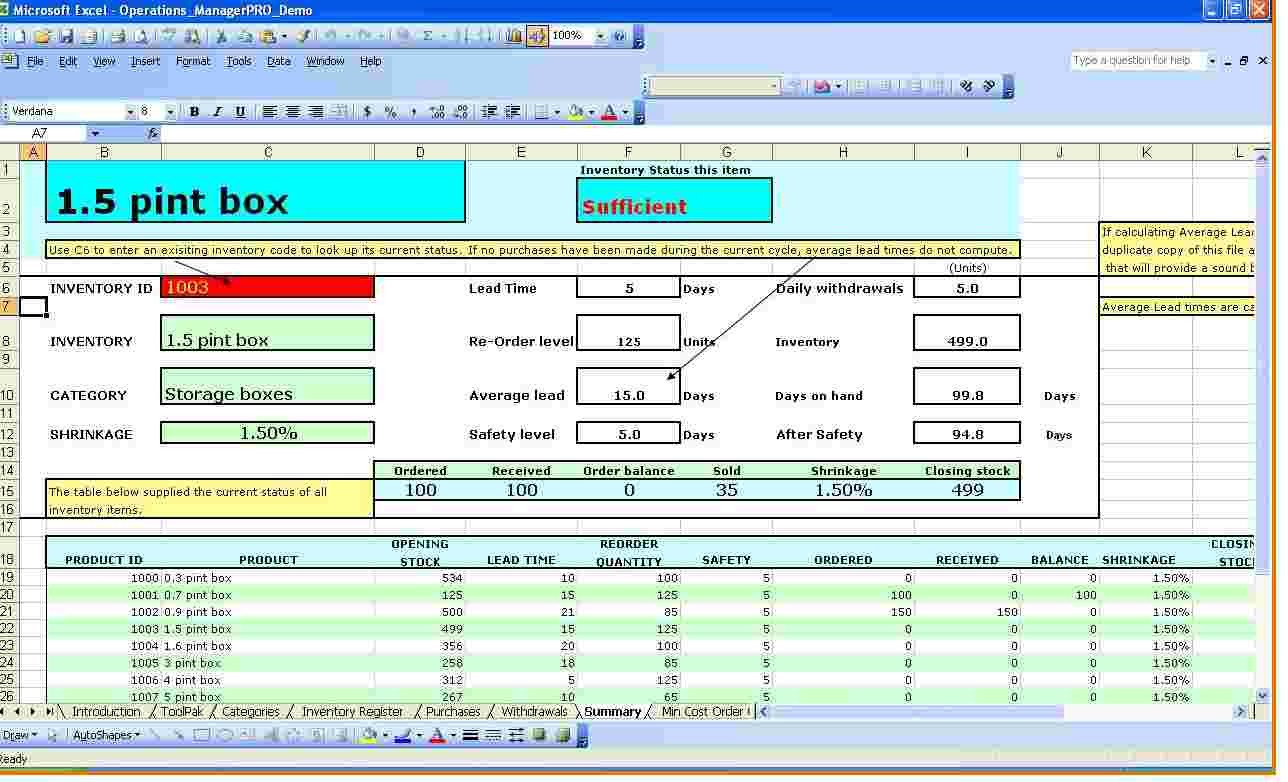 Excel Inventory Template with formulas Inventory Spreadsheet Template for Excel Spreadsheet