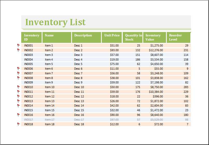 Excel Inventory Template with formulas Inventory Worksheet Template for Excel