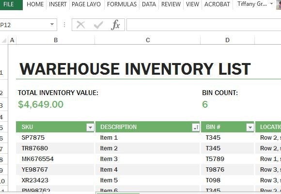 Excel Inventory Template with formulas Warehouse Inventory Excel Template