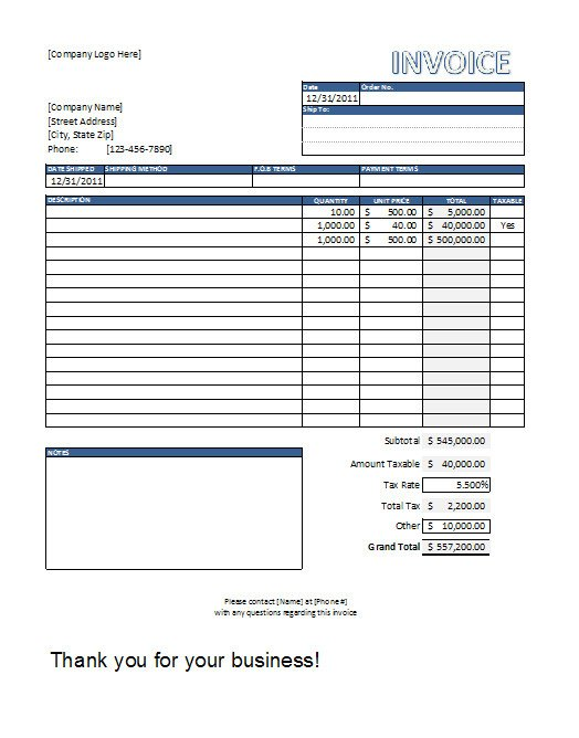 Excel Invoice Template Download Editable Invoice Template Excel