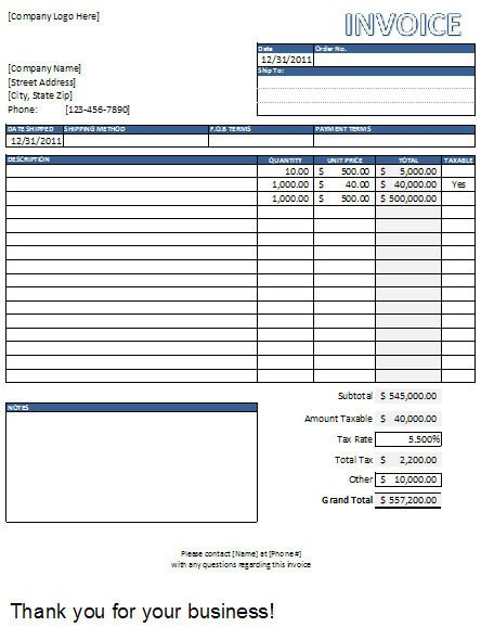 Excel Invoice Template Download Invoice Templates Excel Free Download