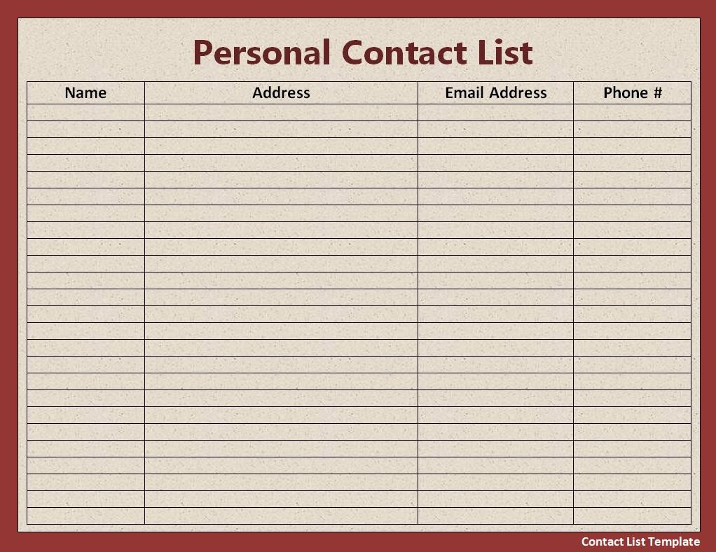 Excel Mailing List Template Contact List Template