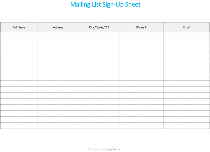 Excel Mailing List Template Free Printable Mailing List Template for Word List Templates