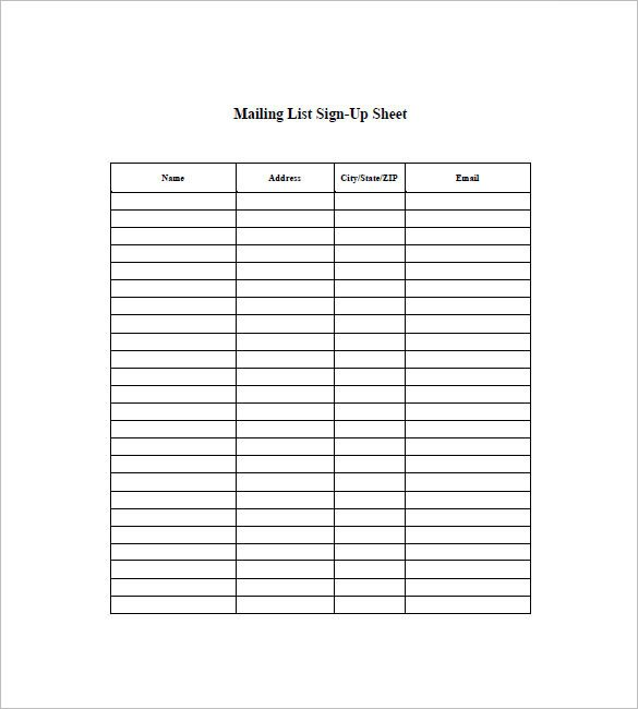 Excel Mailing List Template Mailing List Template