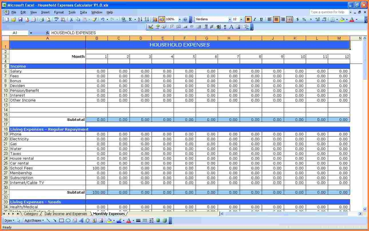 Excel Monthly Bill Template 10 Monthly Bill Spreadsheet Template