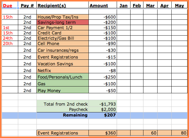 Excel Monthly Bill Template 8 Bill Spreadsheet Template