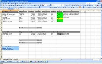 Excel Monthly Bill Template Bill organizer