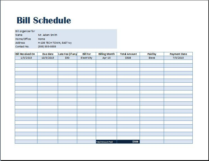 Excel Monthly Bill Template Bill Payment Schedule Template