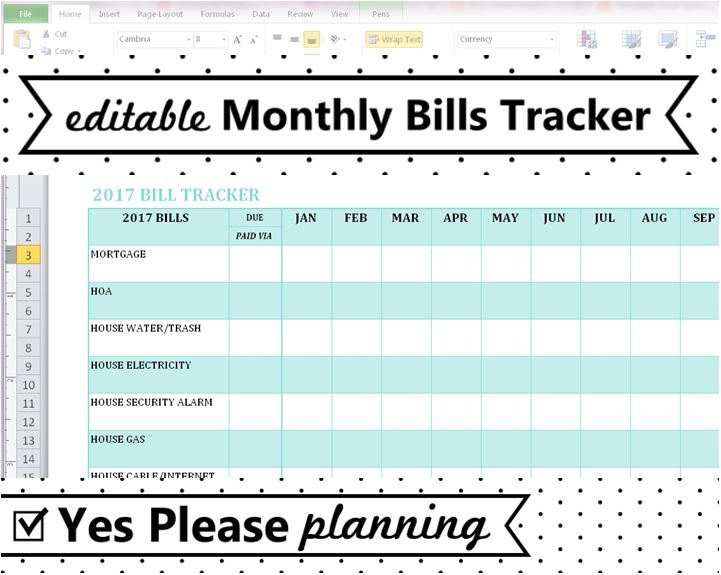 Excel Monthly Bill Template Household Bill Tracker Monthly Bills Spreadsheet Bill