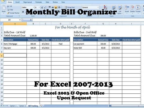 Excel Monthly Bill Template Monthly Bill organizer Bill Tracker Calculates total Due