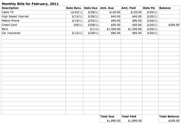 Excel Monthly Bill Template Monthly Bills Spreadsheet Template