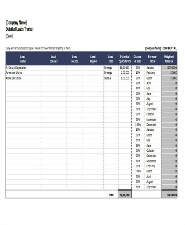 Excel Sales Tracking Template 6 Excel Sales Tracking Templates