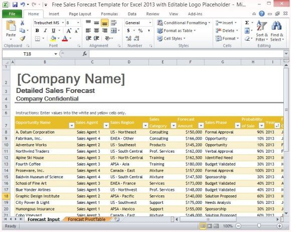 Excel Sales Tracking Template Free Sales forecast Template for Excel 2013 with Editable Logo