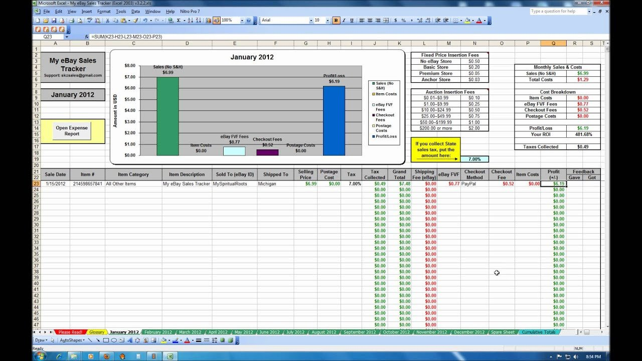 Excel Sales Tracking Template My Ebay Sales Tracker Spreadsheet