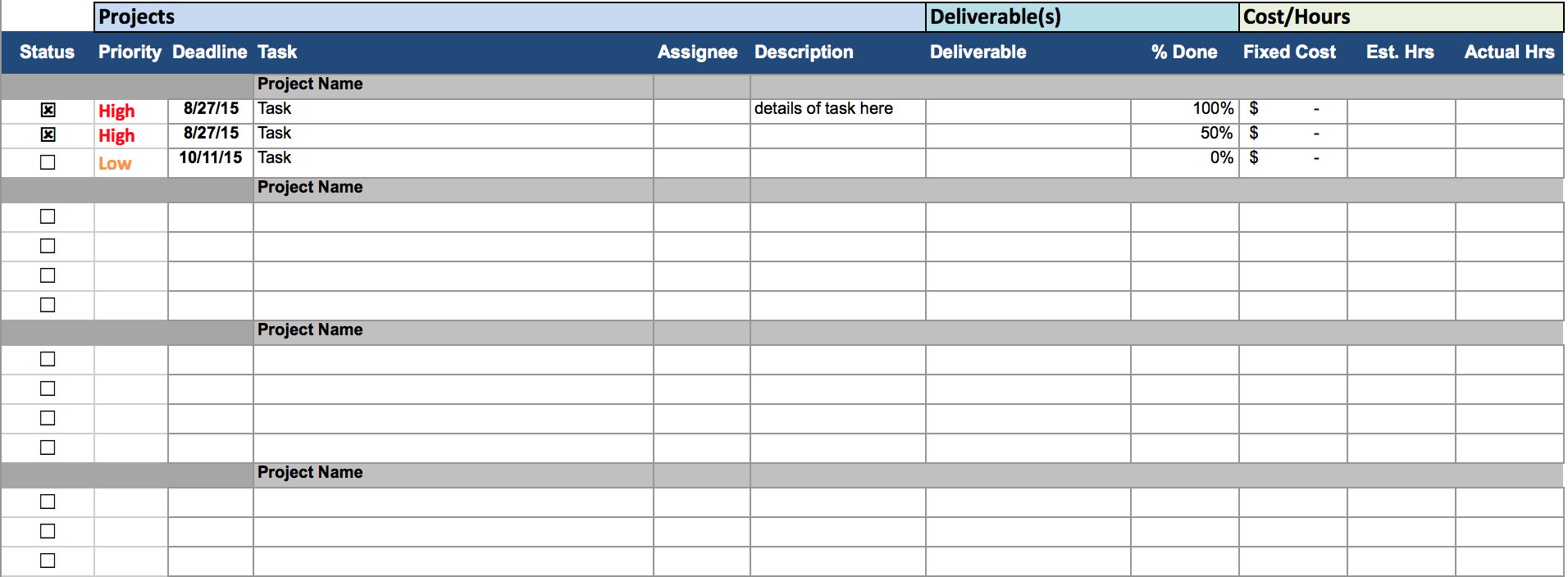 Excel Spreadsheet Templates for Tracking Free Excel Project Management Templates