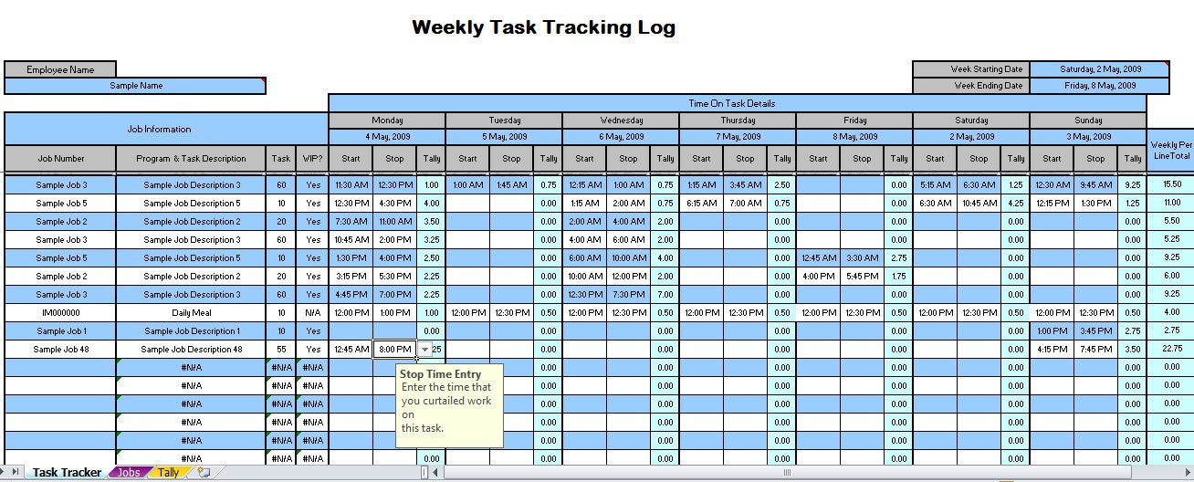 Excel Spreadsheet Templates for Tracking Weekly Time Tracking Spreadsheet