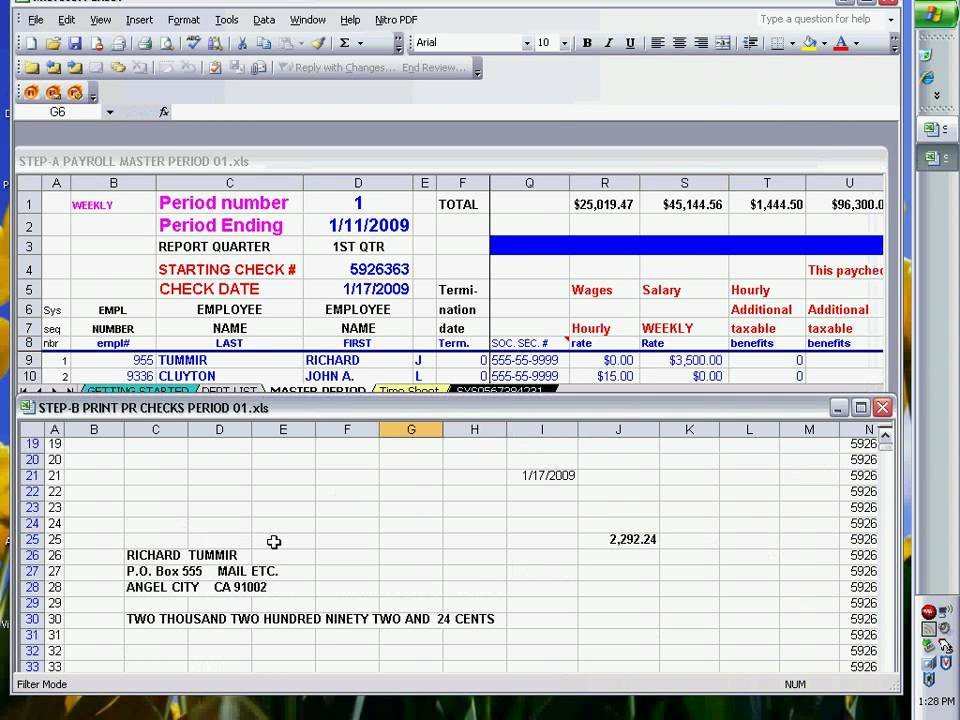 Excel Template Check Printing Payroll Checks Using Excel Ready to Print