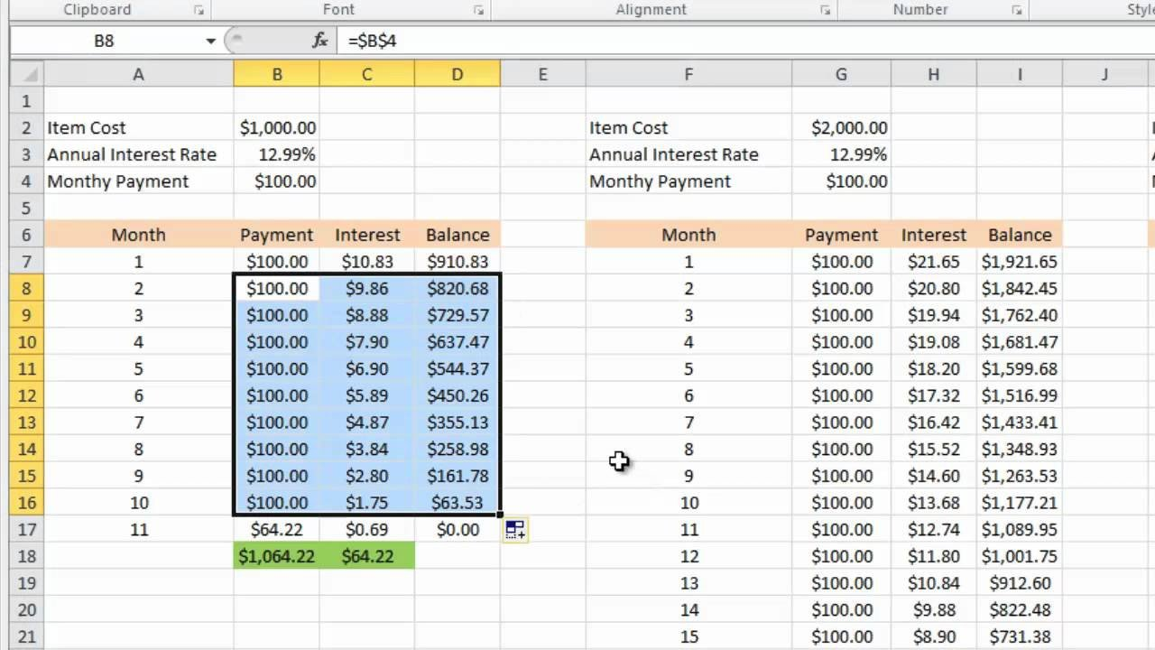 Excel Template Credit Card Payoff Calculating Credit Card Payments In Excel 2010