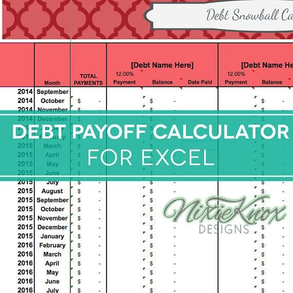 Excel Template Credit Card Payoff Debt Payoff Calculator for Excel Track Your Interest