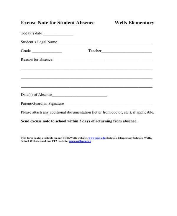Excuse Notes for School 11 School Excuse Note Templates Pdf
