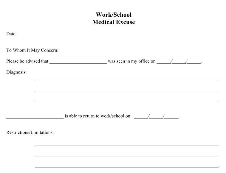 Excuse Notes for School 25 Free Doctor Note Excuse Templates Template Lab