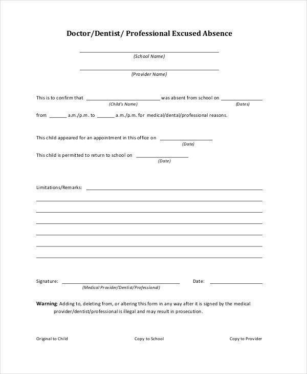Excuse Notes for School Doctors Note Template for School 6 Free Word Pdf
