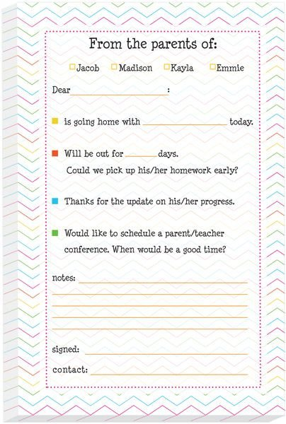 Excuse Notes for School Fun Chevron Excuse Pad Back to School is Cool