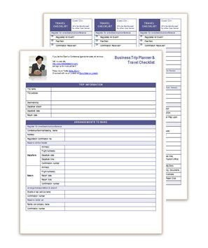 Executive assistant Travel Itinerary Template Business Travel Planner & Checklist