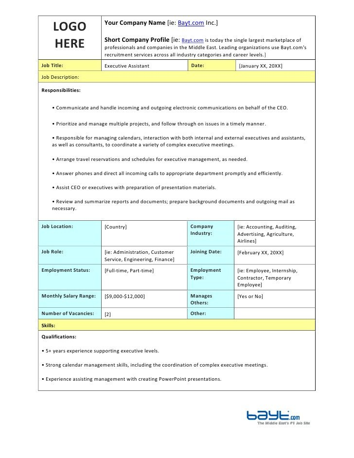 Executive assistant Travel Itinerary Template Executive assistant Job Description Template by Bayt