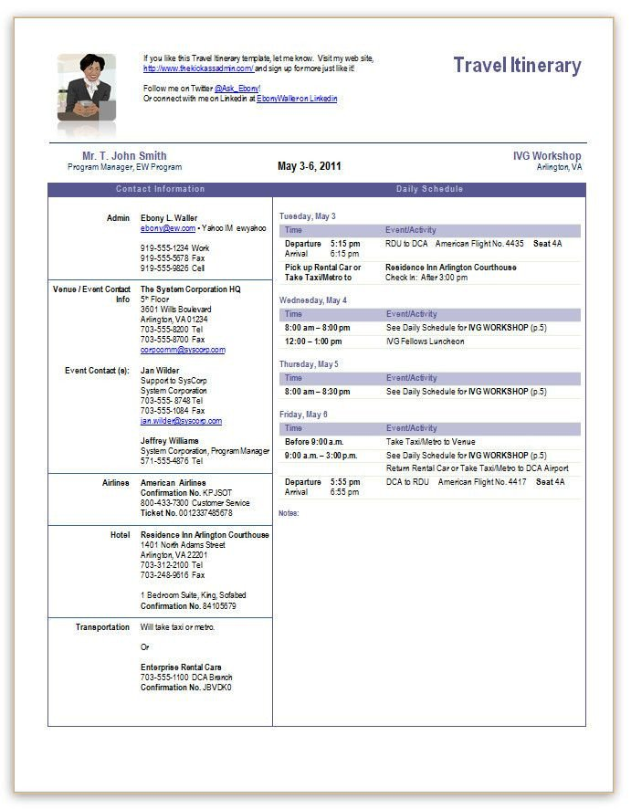 Executive assistant Travel Itinerary Template Travel Itinerary Fice Templates Pinterest