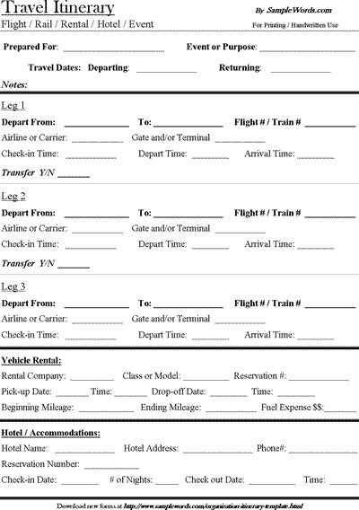 Executive assistant Travel Itinerary Template Travel Itinerary Template Download Microsoft Word