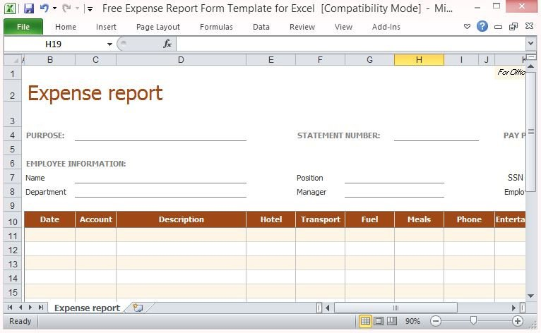 Expense Report Template Free Free Expense Report form Template for Excel