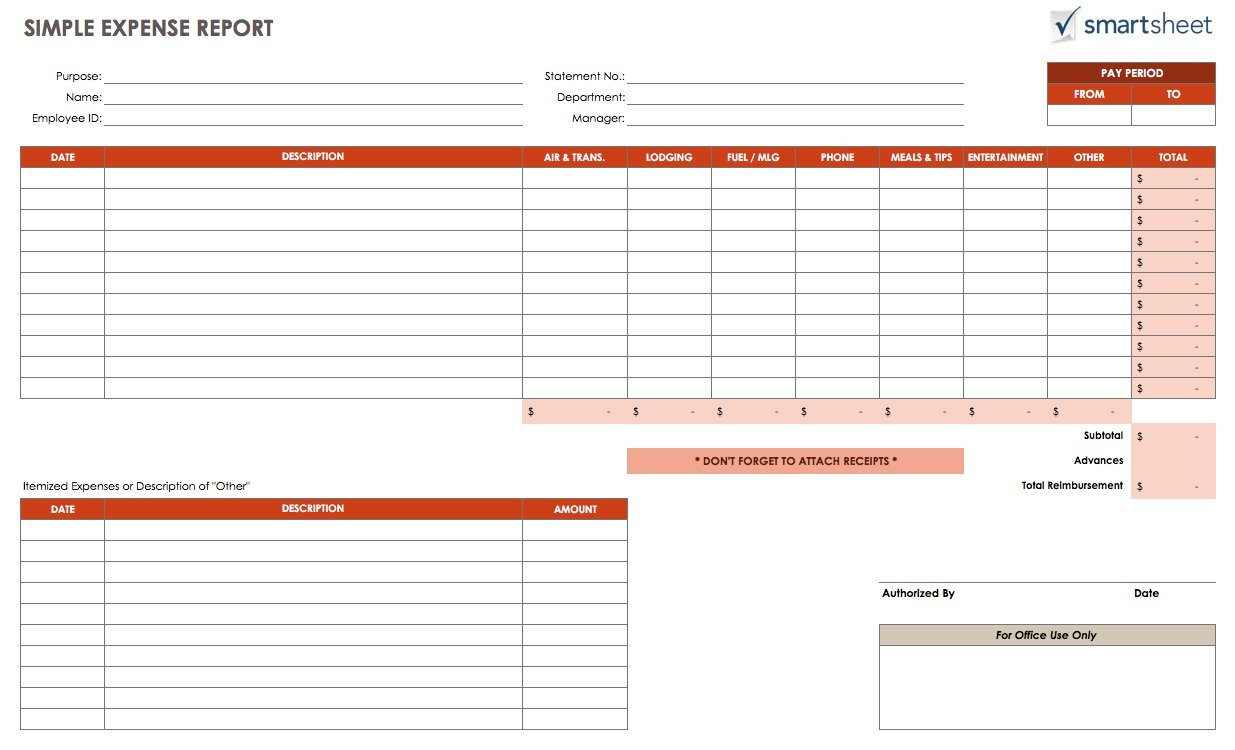 Expense Report Template Free Free Expense Report Templates Smartsheet