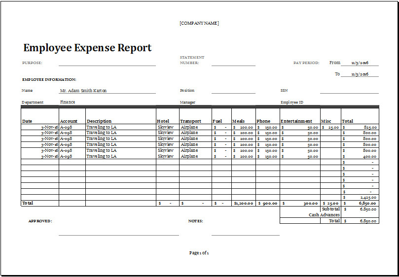 Expense Report Templates Excel Excel Employee Expense Report Templates