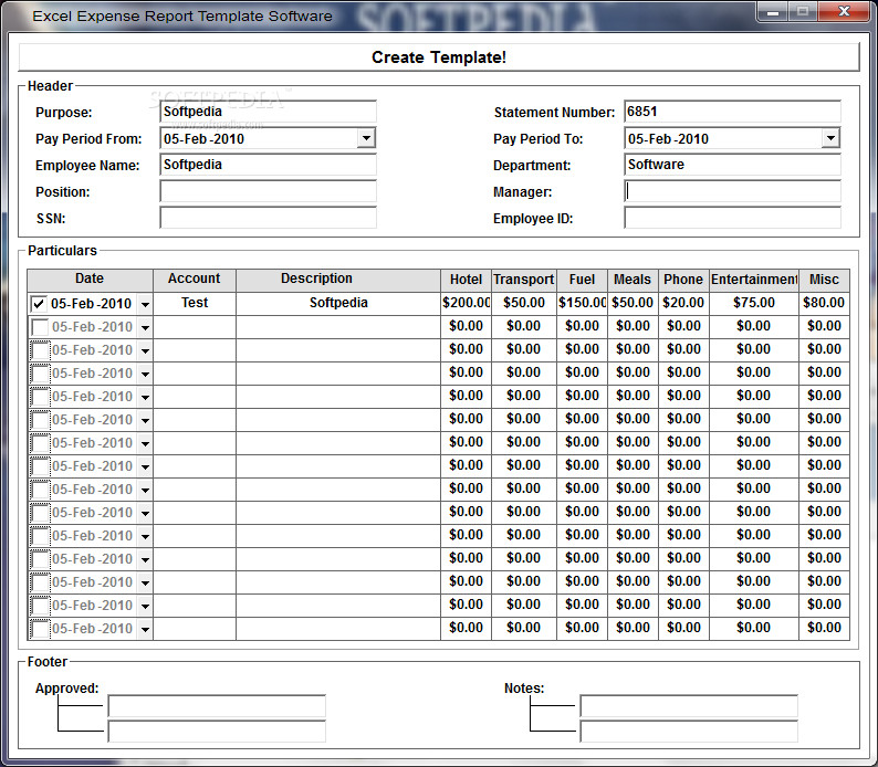 Expense Report Templates Excel Excel Template Expenses